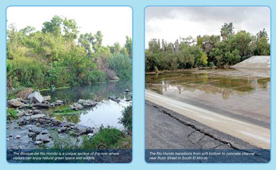 Examples of Rio Hondo River soft bottom vs concrete bottom