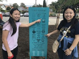 Amigos de los Rios volunteers withInterpretive signage about water